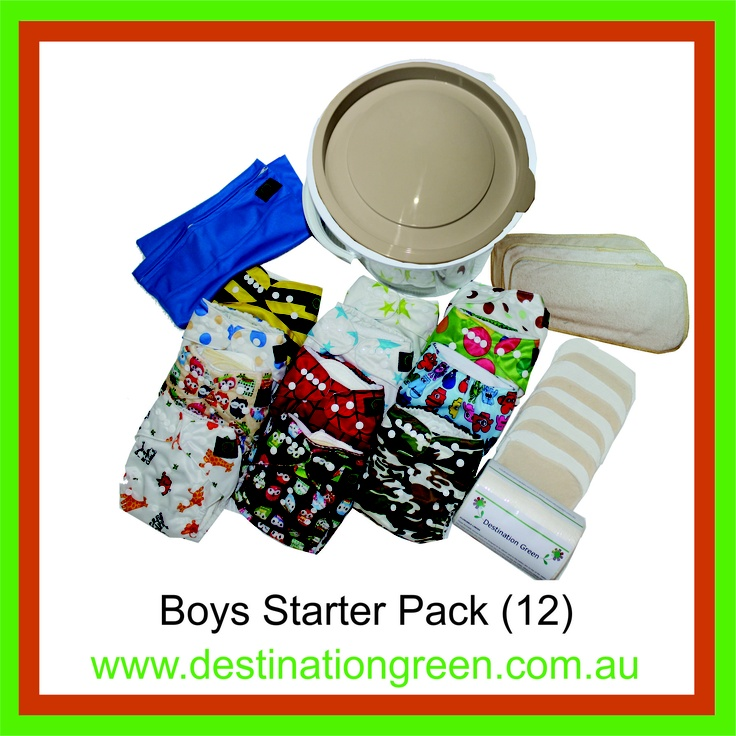 Boys' Starter Pack - includes 12 reusable nappies, $168.00