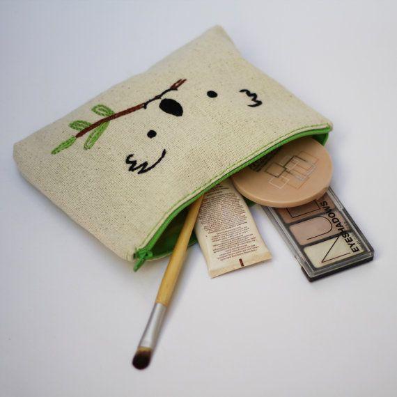 makeup bag / koala hand embroidered / bridesmaid gift by NIARMENA