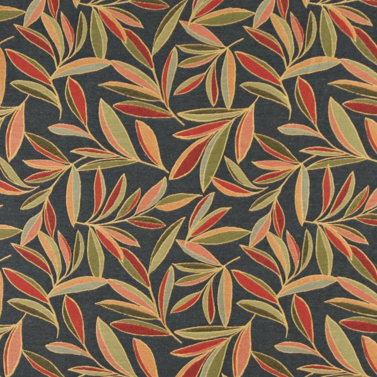 Red, Green And Blue, Foliage Leaves Contemporary Upholstery Fabric By The Yard