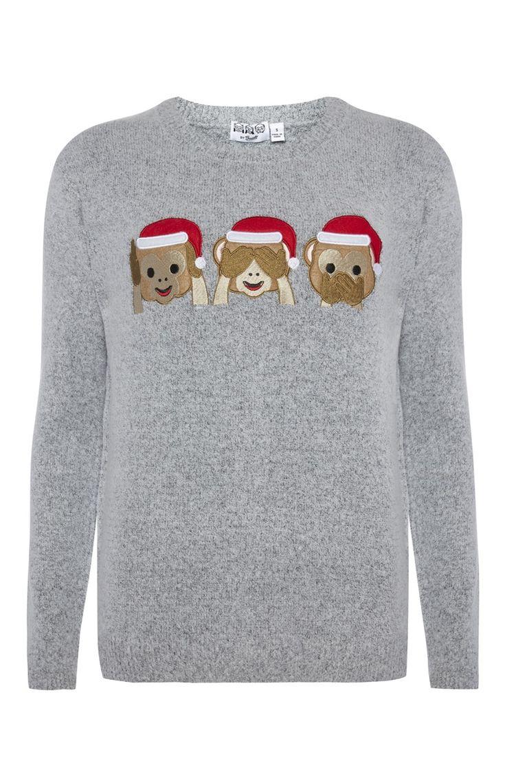 Primark - Grijze kersttrui met aapjes