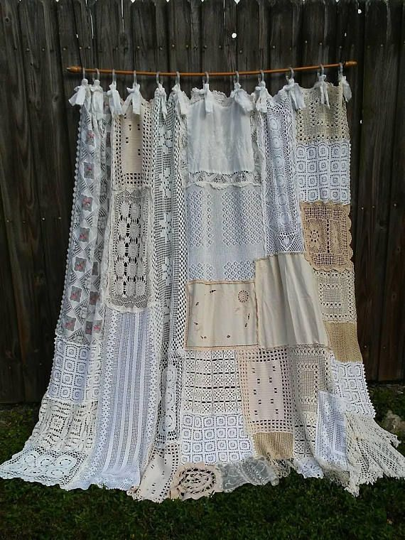 Shower Curtain Shabby Chic Vintage Crochet Vintage Embroidery Home