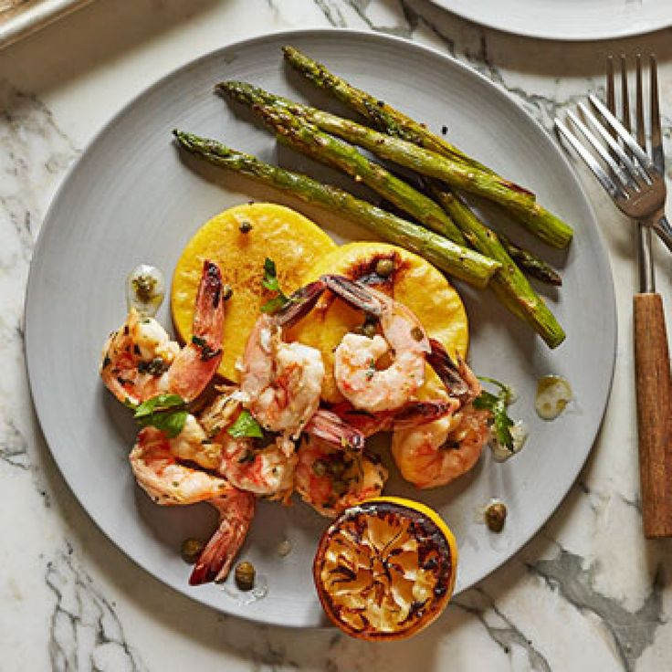 Healthy Sheet Pan Dinners | Family Circle—shrimp with asparagus and polenta