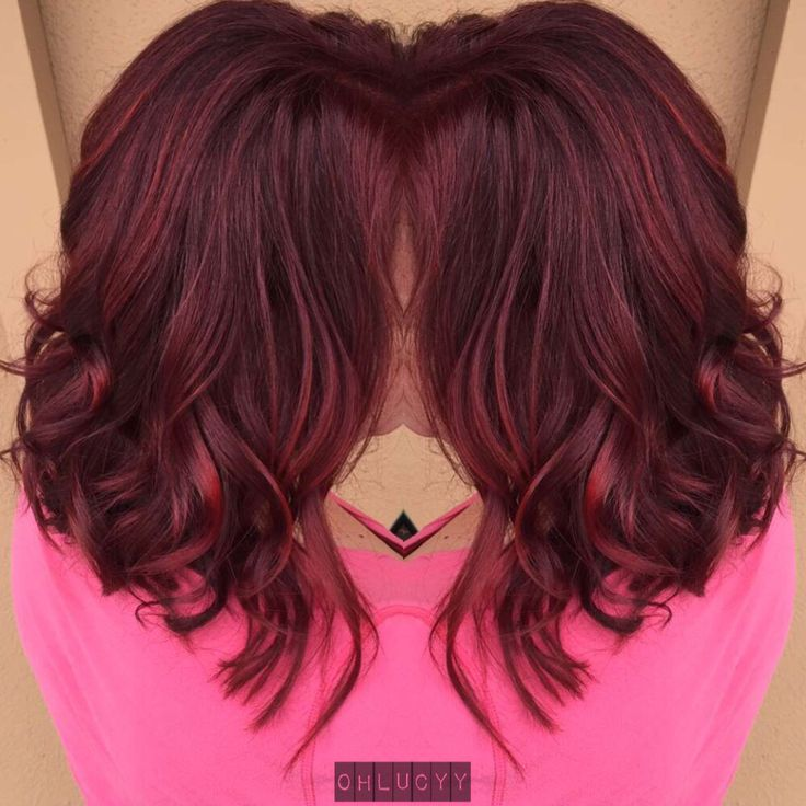 Red violet balayage and long bob haircut