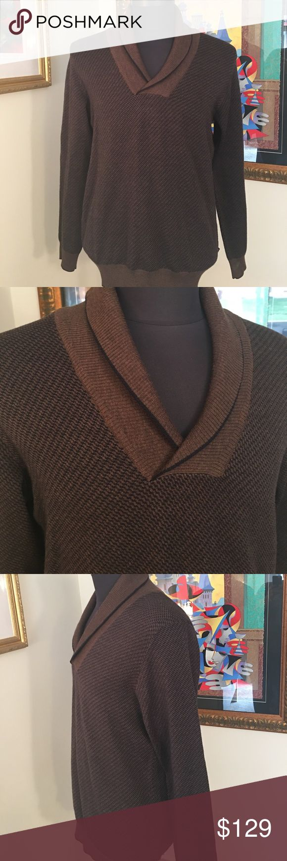 🆕HUGO BOSS MENS WOOL SWEATER 💯AUTHENTIC HUGO BOSS NEW MENS BROWN AND BLACK WOOL SWEATER 100% AUTHENTIC. TRUE HIGH END LUXURY AND STYLE. PURCHASED AND NEVER WORE IT! WHAT A HREAT SWEATER IN A SIZE LARGE! Hugo Boss Sweaters