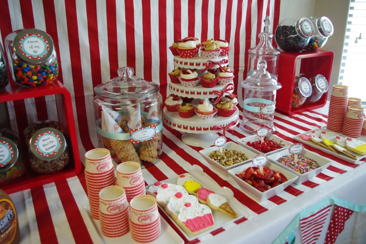 Ice cream sundae bar, created by Gricelda.  Cookies and cupcakes made by Mary and Megan.