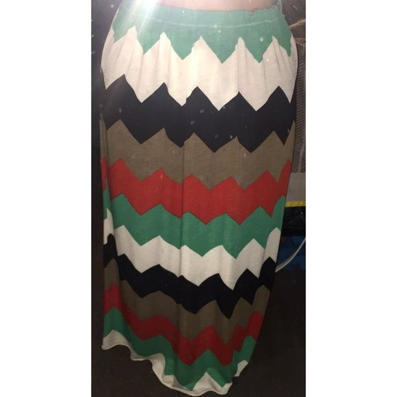 Multi-Colored Chevron Maxi Skirt Size M Great Condition!! Stretchy fabric. Wearable with many top colors! Check out my other listings for more savings :) Skirts Maxi