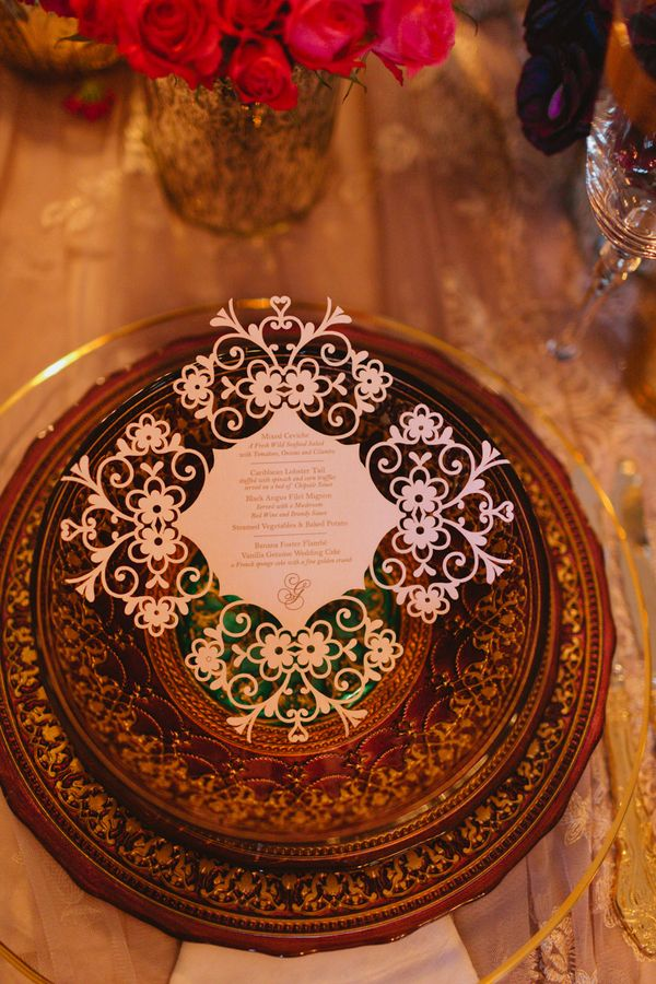 Wedding menu #stationery @Daniela I.  #lasercut #luxury #wedding     Photo: www.janiceyiphotography.ca    Wedding Planner: www.traceymevents.ca Featured on: Wedding Obsession Wedding Blog http://www.weddingobsession.com/2014/01/29/luxurious-mexico-inspired-style-shoot/