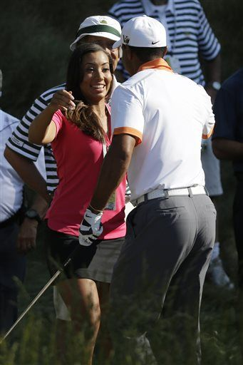 cheyenne woods   Tiger Woods, right, greets his niece, Cheyenne Woods, near the 18th ...