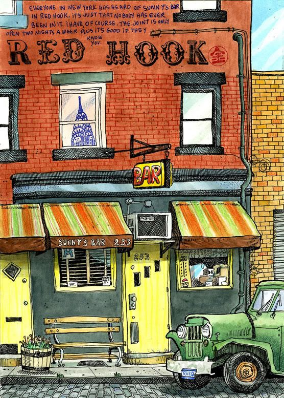 Drawing of Sunny's bar in red Hook, Brooklyn.