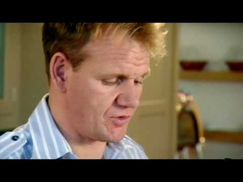 Gordon Ramsay's recipe for Seabass on The F Word. Includes how to fillet the seabass the easy way and preparing the peppers for the sauce.
