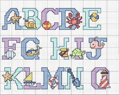 Una Locura de ideas !!!  de punto de cruz: Abecedario en punto de cruz de letras de colores c...