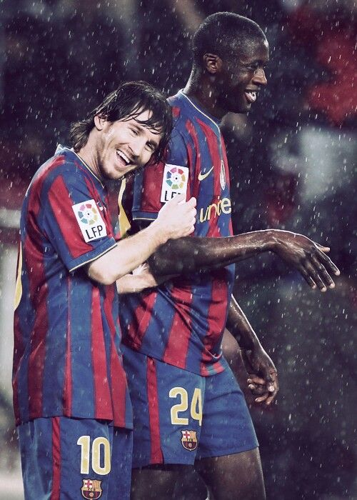 Lionel Messi, FC Barcelona and Yaya Touré, FC Barcelona (2007–2010, 74 apps, 4 goals). #BrothersInArms