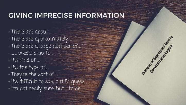 Examples of Expressions Used in Conversational English - GIVING IMPRECISE INFORMATION