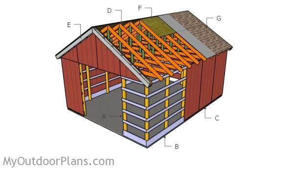 Building a 16x20 pole barn outdoor shed plans free for Pole barn material list free
