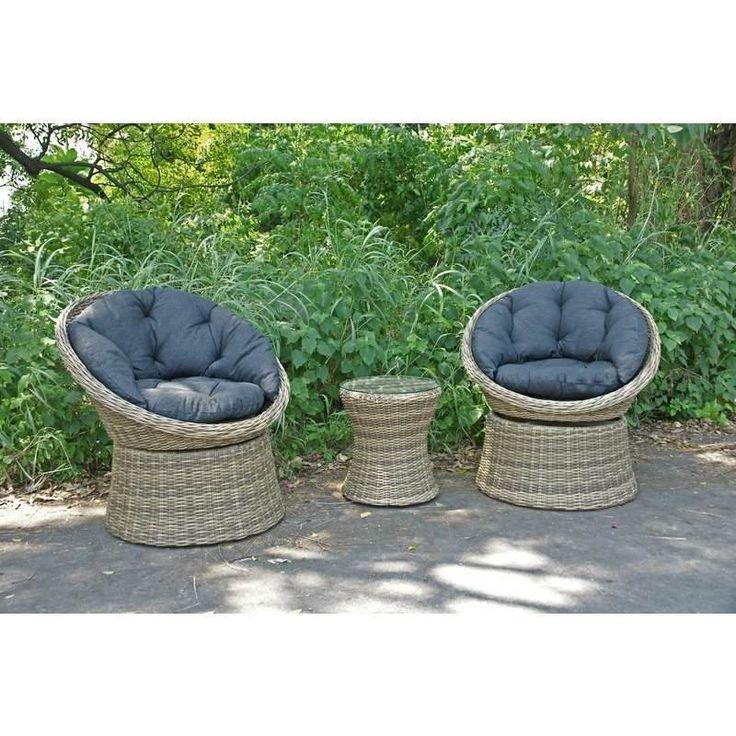 Como Outdoor 3pc Wicker Swivel Lounge Set Charcoal   Buy Wicker Outdoor Furniture