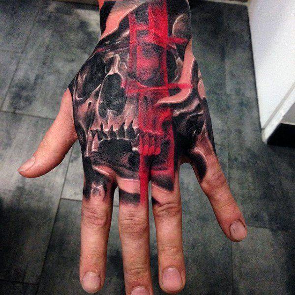 80 Schädel Hand Tattoo Designs für Männer  – Raben