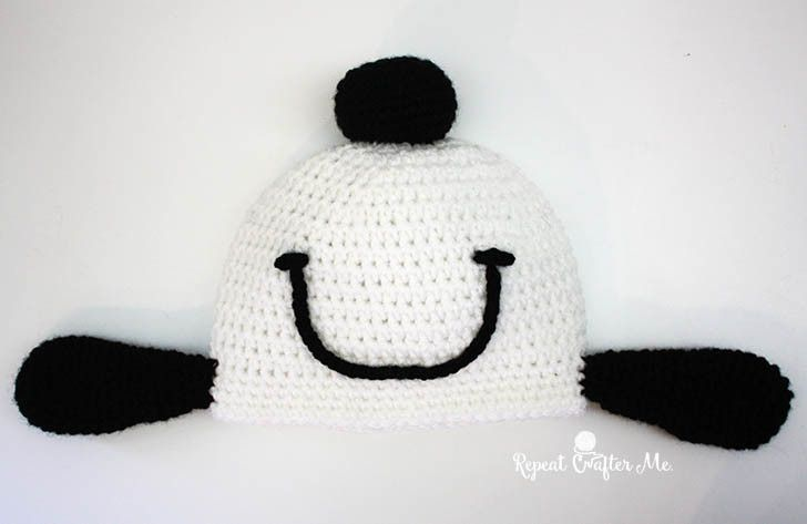 Crochet Snoopy Happy Dance Hat - I could do this without a pattern!
