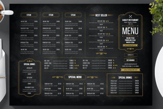 Blackboard Menu Cocktail Menu Restaurant Menu Thai Menu Etsy In 2021 Blackboard Menu Menu Restaurant Menu Template