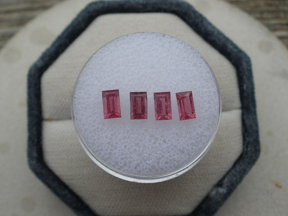 4 Pink Tourmaline Baguette Natural Loose Faceted Gem Lot 5x3mm