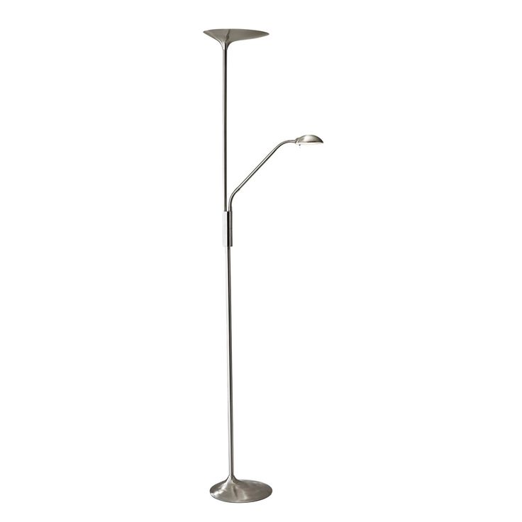 Two Light Floor Lamp: Adesso Kepler Brushed Steel LED Two-Light Torchiere Floor Lamp,Lighting