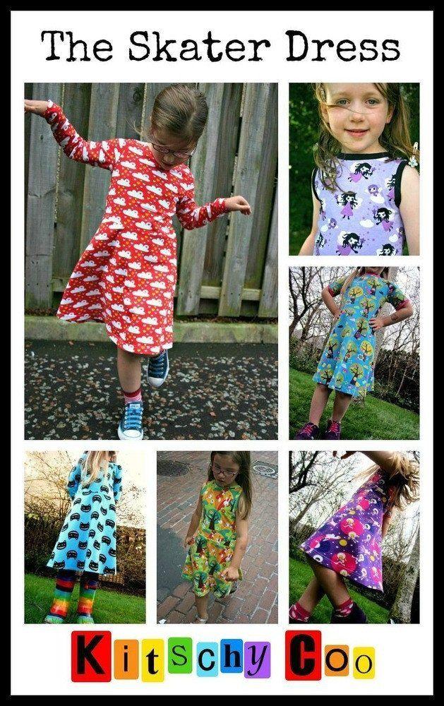 Little Girls' Skater Dress sewing pattern -18m/2T, 3T/4T, 5Y/6Y, 7Y/8Y - PDF