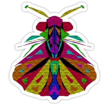 An abstract drawing of a colourful Moth, which has a mosaic appearance, on a black background..  NOTE: Some items have a version with a transparent background. • Also buy this artwork on stickers, apparel, phone cases, and more.