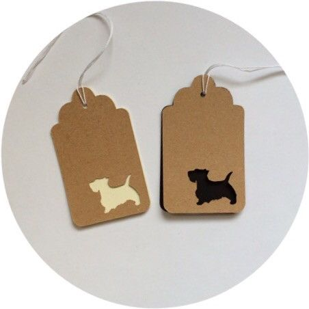 Scottish Terrier Tags Sets of 25 Tags for $4.50 All Tags are 2.5x1.5 inches. Tags are offered in 65lb Card Stock, Colors: Natural, Cream, White & Black Check out or Colored Tags collection to add a po