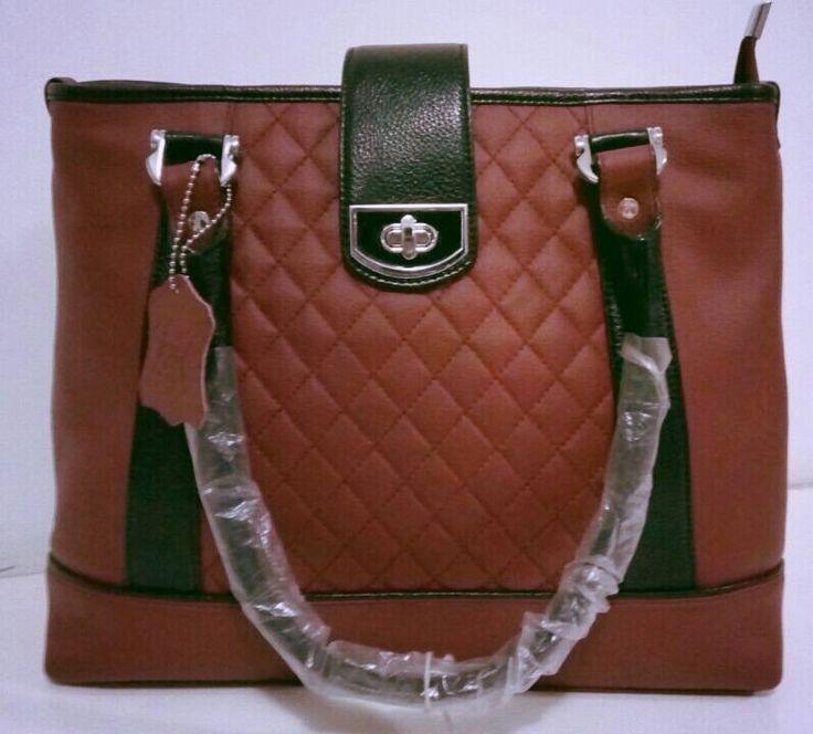 100% Genuine Buffalo Leather Elegant  Everyday Handbag - Brick Red