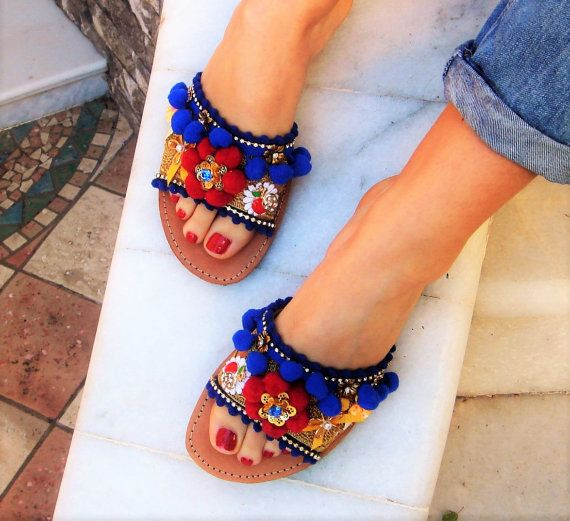 Leather Sandals Lazy Daisy by GogosJouls on Etsy