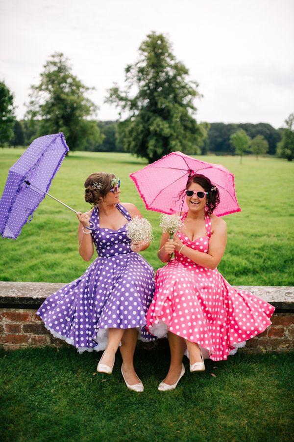 Fun Colourful Country Wedding Vivien of Holloway Polka Dot Bridesmaids http://mattbowenphotography.co.uk/