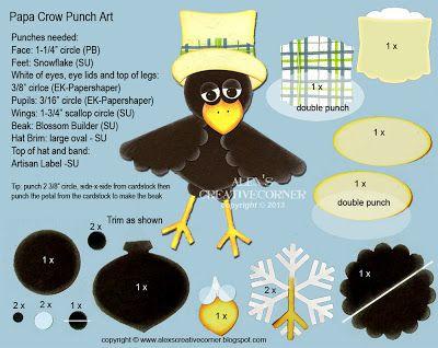 http://alexscreativecorner.blogspot.com/2013/10/papa-crow-punch-art.html - Papa Crow Punch Art Instructions
