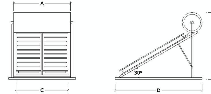 panel solar en alzado con depósito de A.C.S