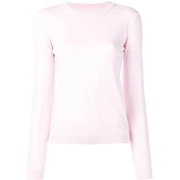 Maison Margiela elbow patch jumper ($495) ❤ liked on Polyvore featuring tops, sweaters, long sleeve jumper, elbow patch top, maison margiela sweater, pink top and elbow patch sweater