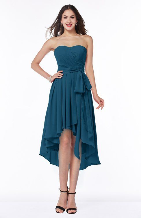 Moroccan Blue Plain A-line Sweetheart Sleeveless Zip up Chiffon Plus Size Bridesmaid Dresses