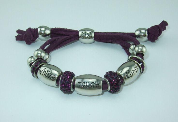 Whoza TOUGH Girl? Dark Purple Shamballa Bracelet.
