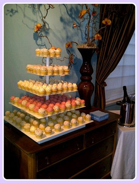 This tower was used to display our cupcakes at a New Collection Launch party! You can even rent this tower from our King and Victoria location!