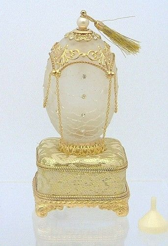 Faberge Style Glass Egg Perfume Bottle Music Box