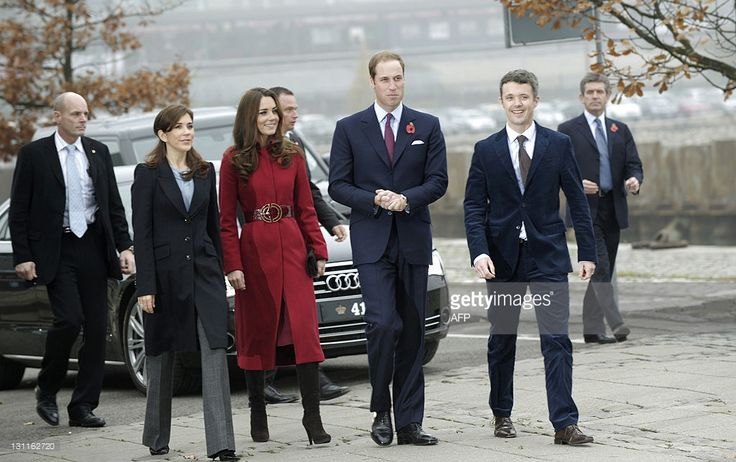 Britain's Prince William (2ndR) and his wife Catherine, Duchess of Cambridge (C)…