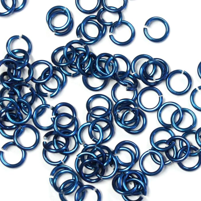 5mm (3/16 Inch) Royal Blue Anodized Aluminum Jump Rings