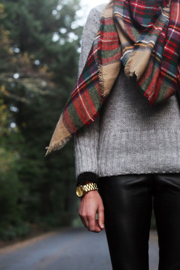 Fall Outfit: Grey sweater, black leather leggings and tartan plaid scarf.
