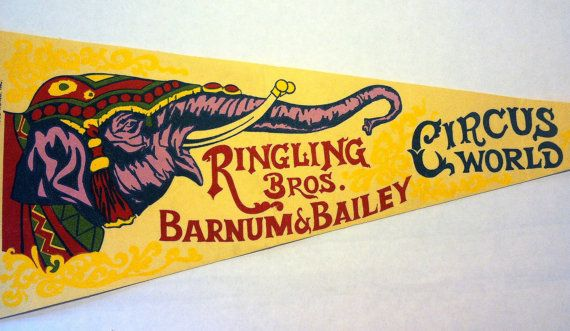 1974 Ringling Bros Barnum & Bailey Circus Pennant by Sfuso on Etsy, $18.00
