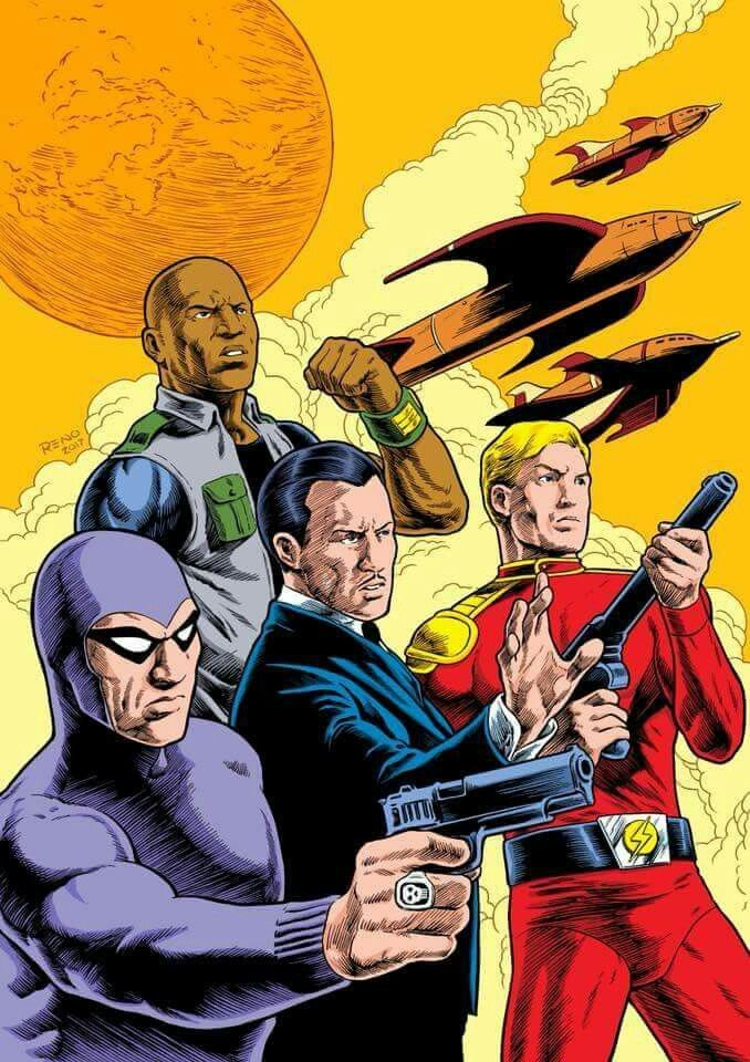 Phantom Mandrake Flash Gordon And Unknown In Back Row Phantom Comics Underground Comic Comic Book Characters