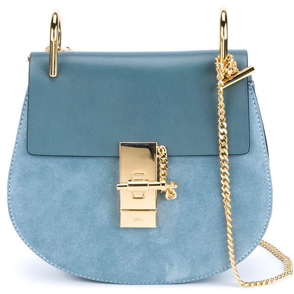 Chloé Small Leather Drew Bag (£1,010) ❤ liked on Polyvore featuring bags, handbags, shoulder bags, purses, hand bags, man bag, chloe handbags, man shoulder bag and blue leather purse