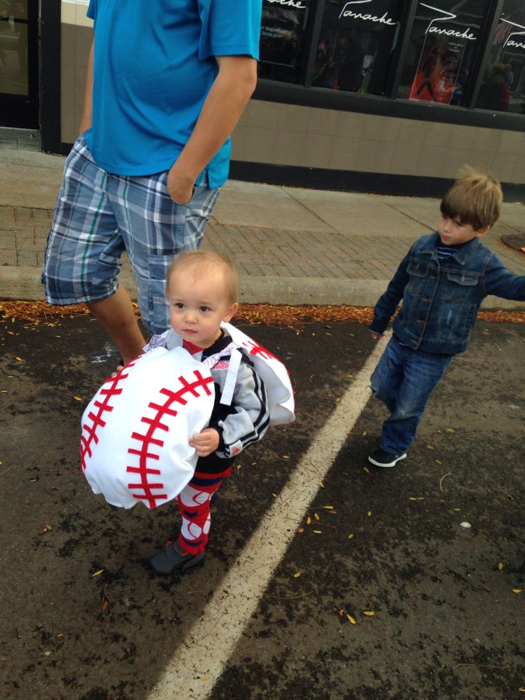 "Zachary's baseball ""ball"" Halloween costume. He loved it! Very easy to make as well. (:"