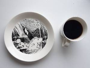 Todays Moomin mug.  Adventure B&W.  More about the series in the next slides. (Sola) The Moomin Adventure collection. Mug and plate.