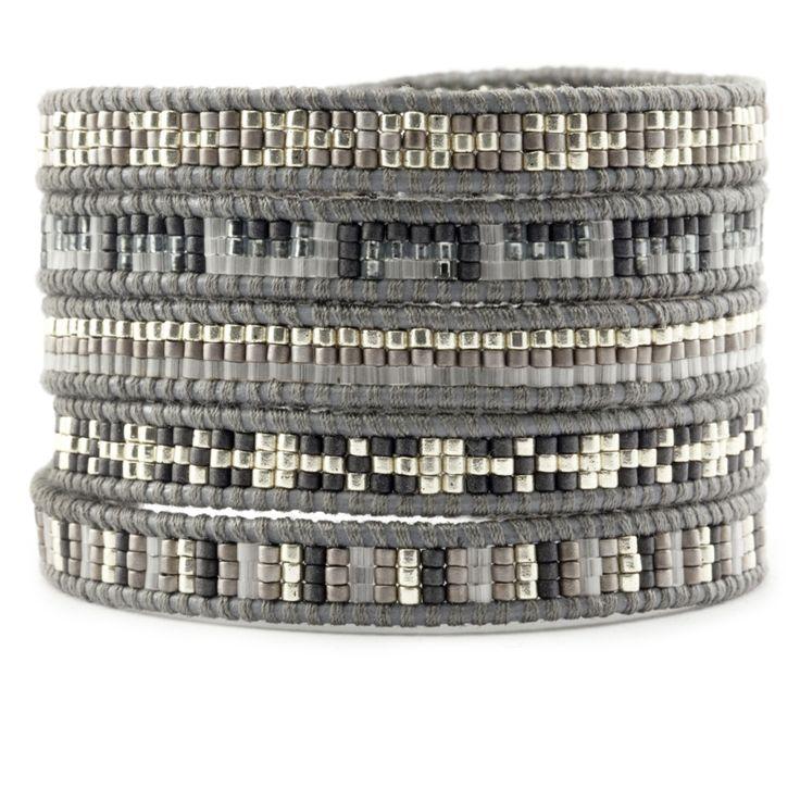 Chan Luu - Light Grey Mix Sectioned Wrap Bracelet on Iceberg Leather, $195.00 (http://www.chanluu.com/wrap-bracelets/light-grey-mix-sectioned-wrap-bracelet-on-iceberg-leather/)