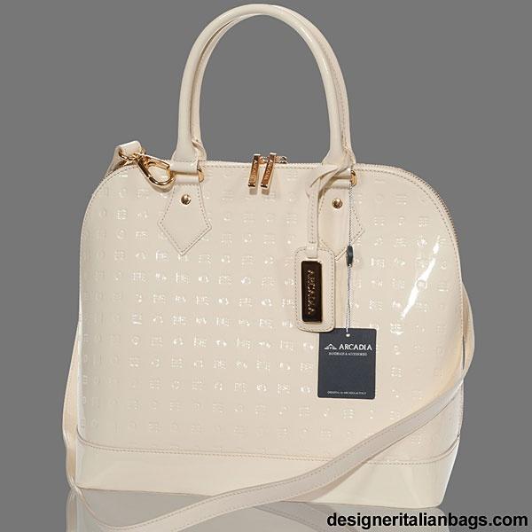 Arcadia Italian Designer Cream Monogram Vernis Leather Bowling Bag $325.00