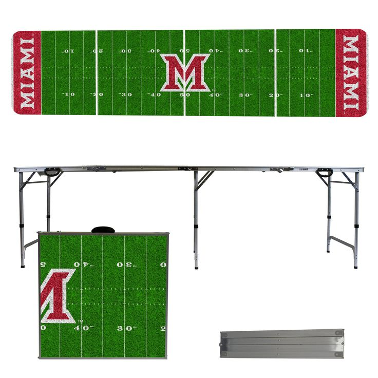 Miami University Redhawks 8 Foot Portable Tailgate and Pong Table
