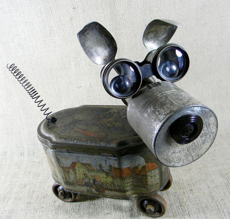 Assemblage Art | found object - GINGER - Assemblage Sculpture - robot dog ...: