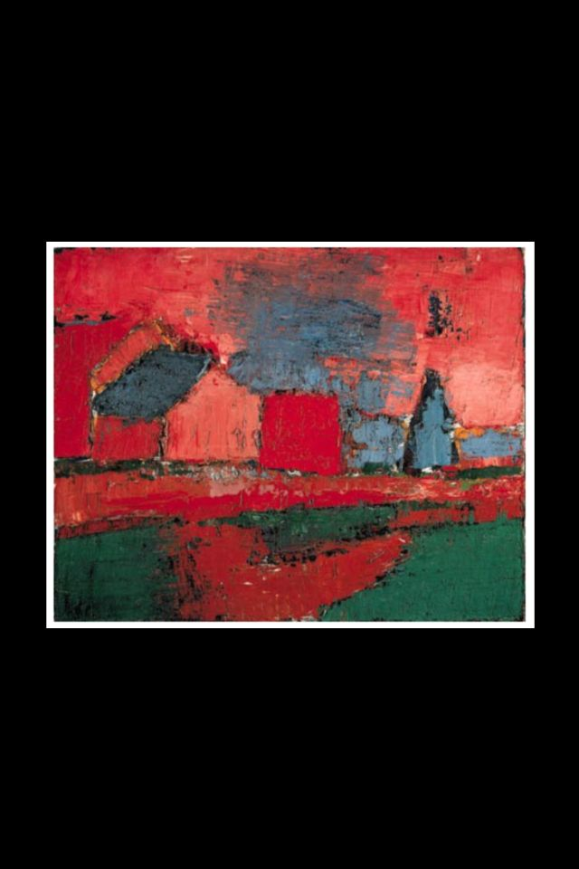 """Nicolas De Staël - """"Arbre et maisons (Paysage) """", peint en Provence en 1953 -Huile sur toile - 64,80 x 81cm (*)"""